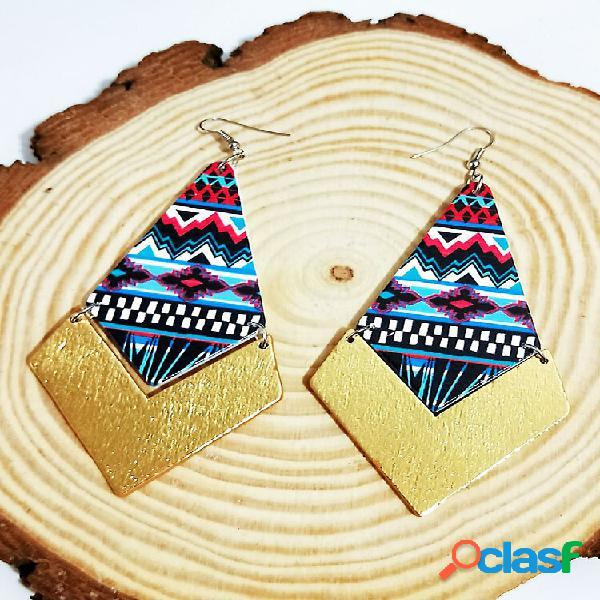 Bohemia colorful geométrico padrão brincos costura vintage de madeira brincos