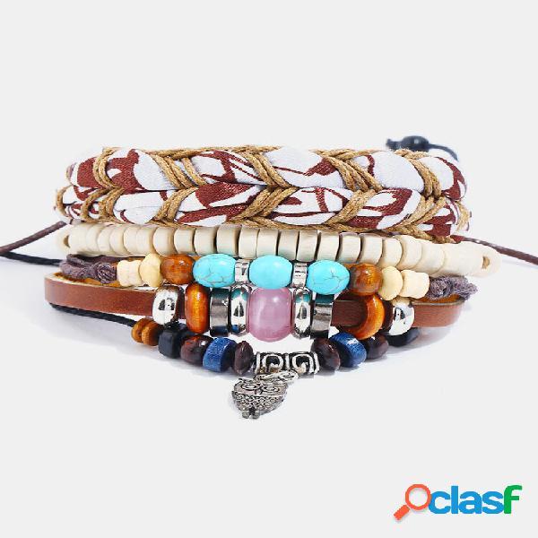 Conjunto de combinação étnica vintage multicamadas pulseira de couro de vaca com cercadura pulseiras de tecido faça você