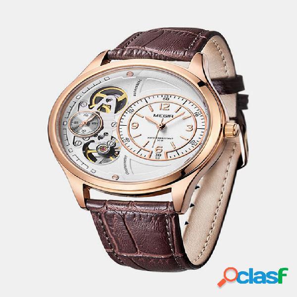 Moda homens de negócios watch couro banda único design mostrador oco mecânico watch