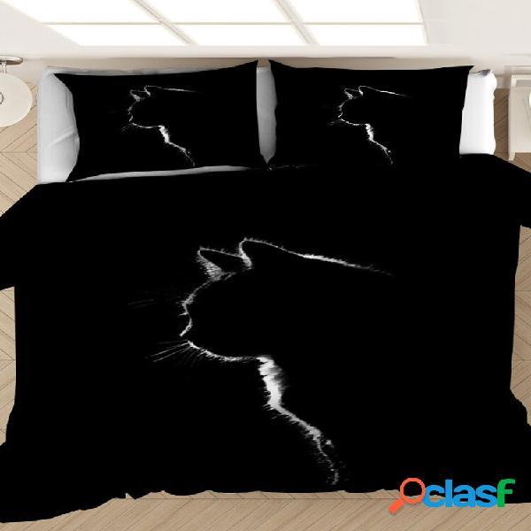 2/3 unidades cat padrão conjunto de capa de edredom confortável preto fronha de cama para adultos conjunto de edredom co