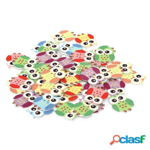 50 unidades multicolor coruja animal de madeira botões 2 furos costura material para scrapbooking