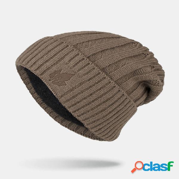 Homem inverno plus folhas bordadas de veludo listrado padrão gorro quente de malha exterior chapéu