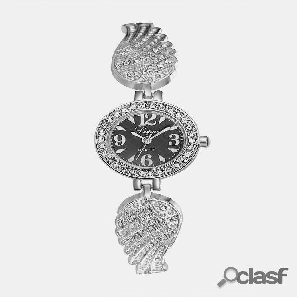 Relógios de pulso de quartzo da moda em aço inoxidável com pulseira de strass relógios elegantes joias para mulheres