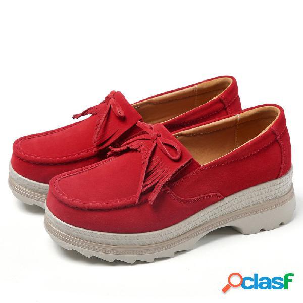 Sapatos ocasionais de camurça respirável com plataforma resistente à borla de deslizamento de tamanho grande