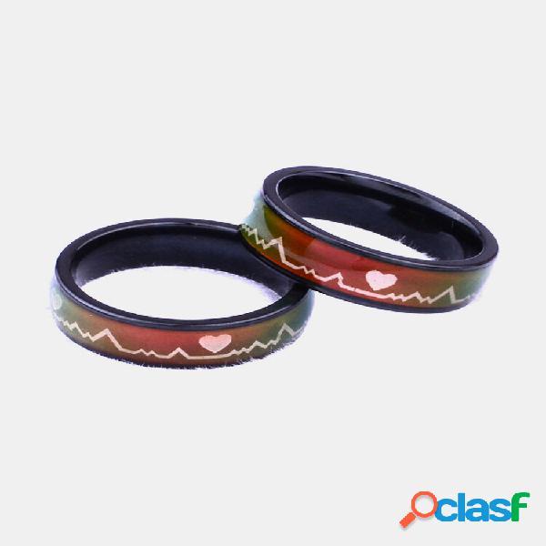 Anéis para pares de dedos da moda titânio aço descoloração anéis de cardiograma com sensor de temperatura para casal