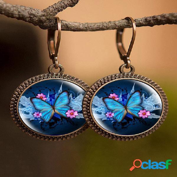 Animal geométrico vintage padrão mulheres impressas brincos gato borboleta pássaro pingente brincos