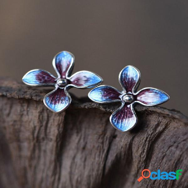 Prata esterlina 925 vintage brincos flor azul queimada orelha joias femininas com parafuso prisioneiro