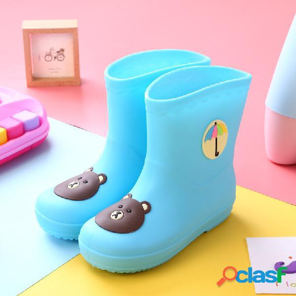 Unissex para crianças desenho animado padrão impermeável antiderrapante soft botas de chuva de pvc com sola