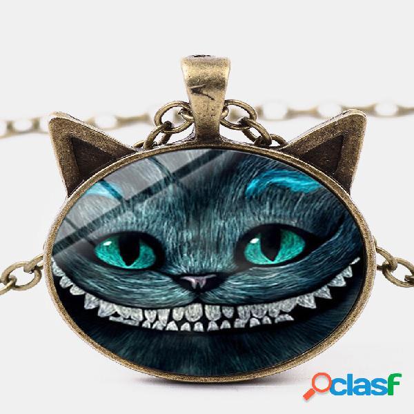 Colar vintage geométrico vidro estampado feminino colar sorridente gato duas orelhas pingente