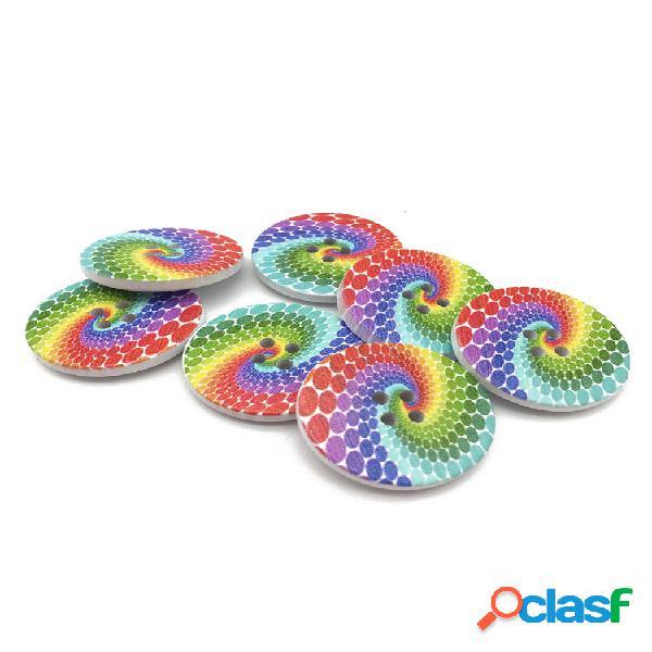 100 unidades 20 mm arco-íris colorful botões redondo dois furos de madeira botões faça você mesmo