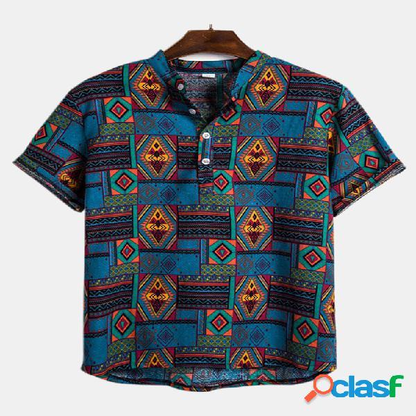 Estilo étnico masculino impressão abstrata manga curta verão casual solta henley camisa