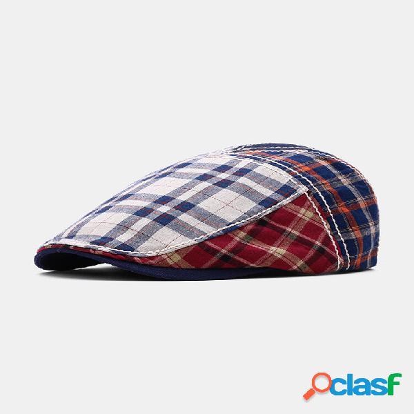 Homens patchwork color lattic padrão viseira casual frente chapéu boina chapéu bonés planos