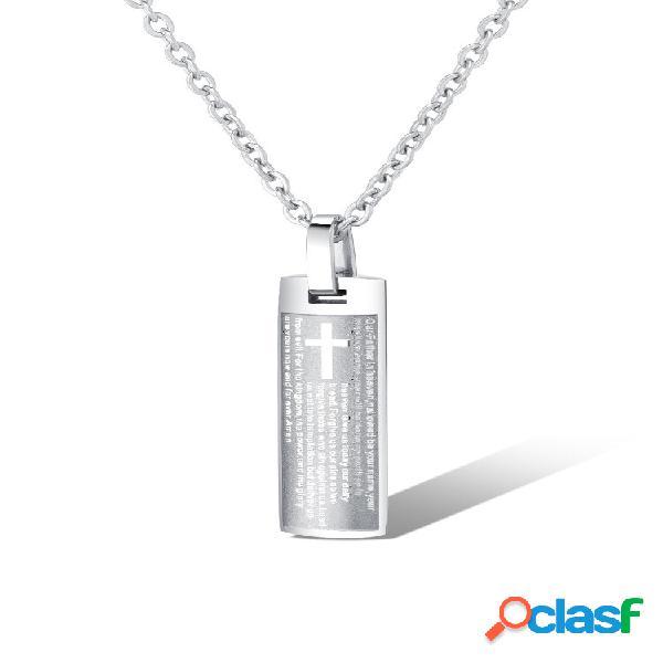 Moda pingente colar retângulo cruz letras encanto colar corrente classic joias para homens