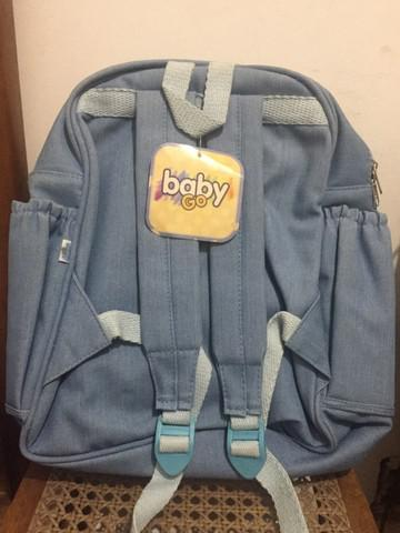 Mochila jeans baby go térmica trocador de fraldas nova