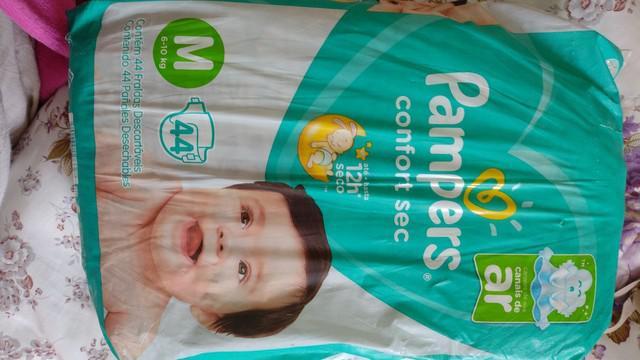 Pacote de fraldas pampers tam. m com 44 unidades por r$ 43