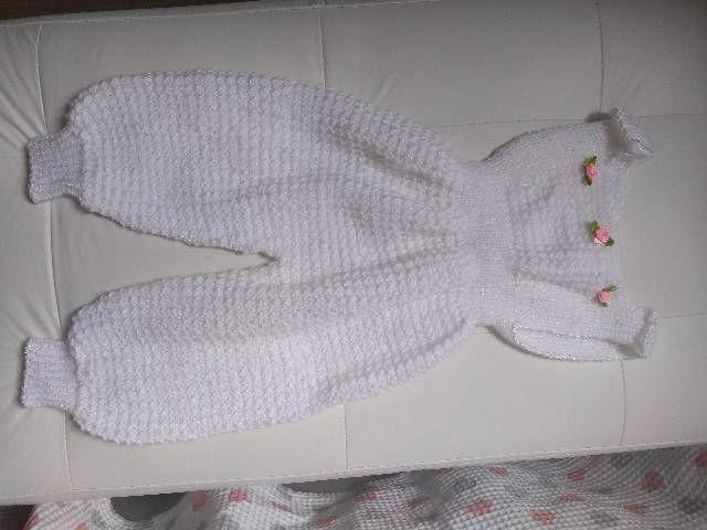 Roupa menina tricô - 0 a 3 meses