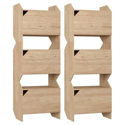 Kit 02 estantes triplas com porta soul carvalho mel - be