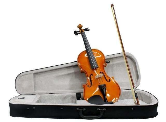 Violino tamanho 4/4 arco madeira breu cavalete estojo luxo
