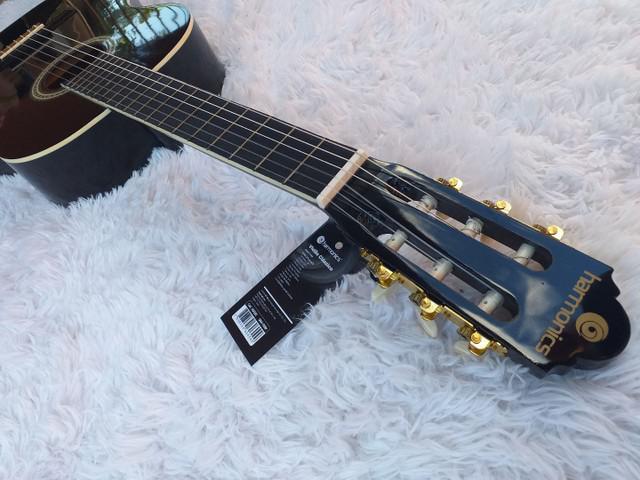 Violão acústico iniciante nylon preto harmonics