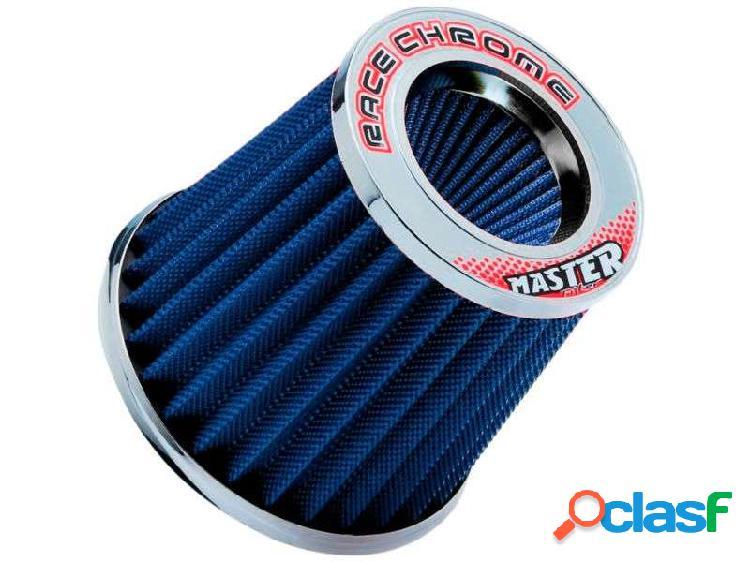 Filtro ar cônico race chrome duplo fluxo master filter azul