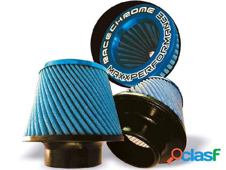 Filtro ar race chrome cônico duplo fluxo grande twister azul