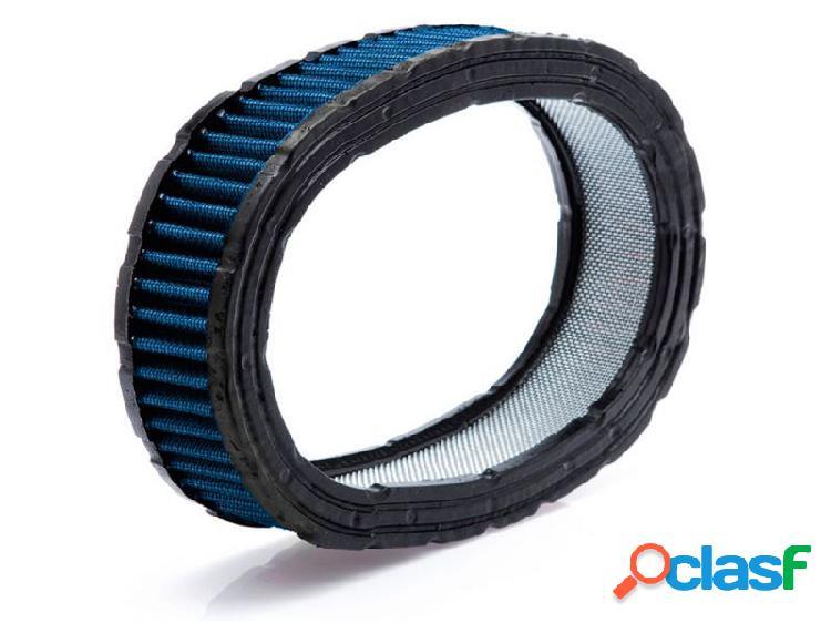 Filtro oval esportivo para carburador com tecido azul