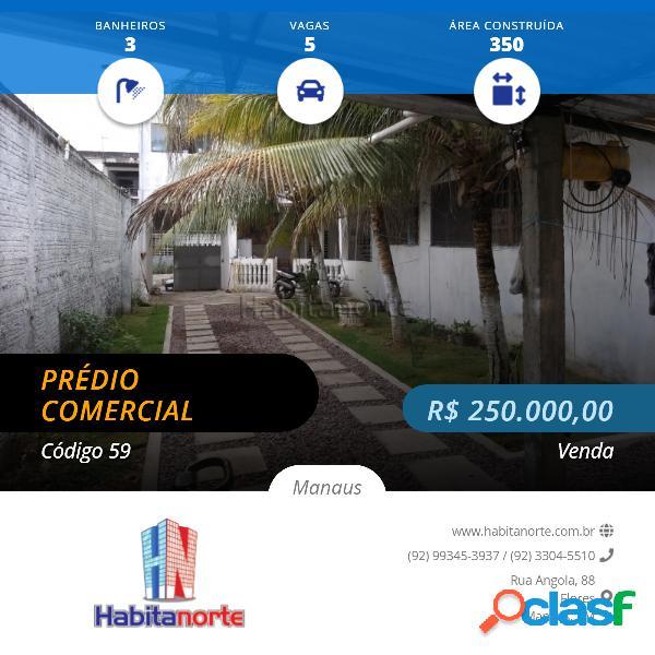Prédio com 350m2, terreno 10x33m, 3 pisos, no bairro da paz, manaus