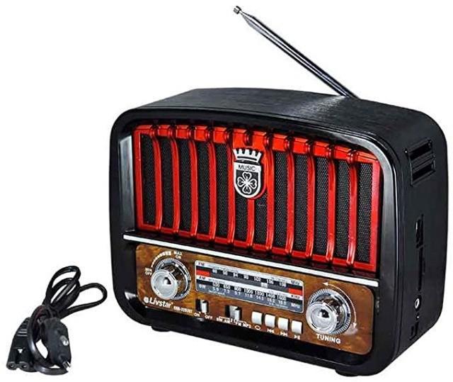 Caixa de som caixa rádio retrô bluetooth fm usb portátil