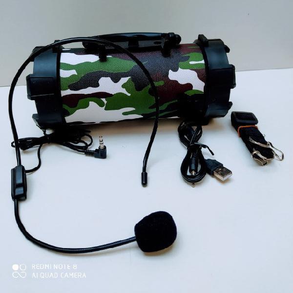 Caixa som bluetooth canhão portátil com microfone lapela