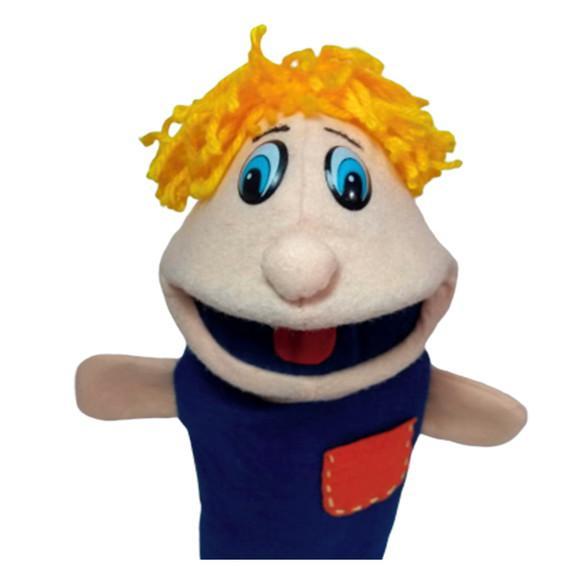Fantoche menino espuma feltro brinquedo educativo