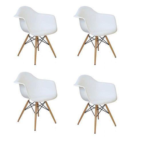 Kit 04 cadeiras charles melbourne com base de madeira branco