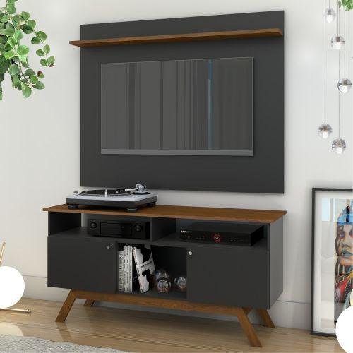 Painel e rack para tv melissa preto madeira