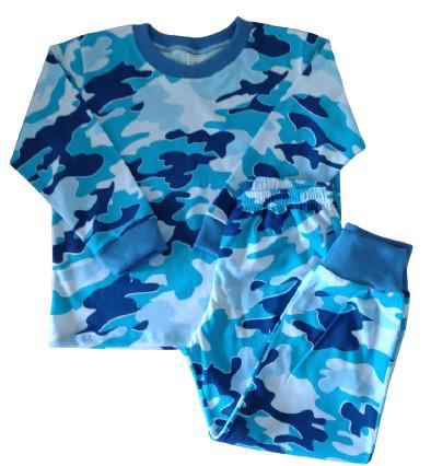 Pijama daluma infantil menino malha camuflado azul tamanho 2