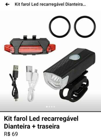 Kit farol led recarregável dianteira + traseira