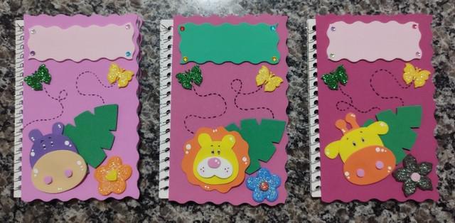 Kit caderneta e lápis - tema animais da selva