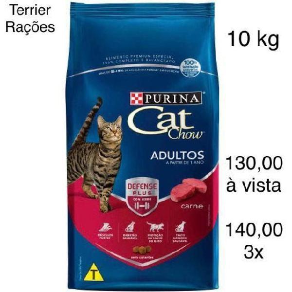 Ração cat chow gatos adultos carne 10 kg