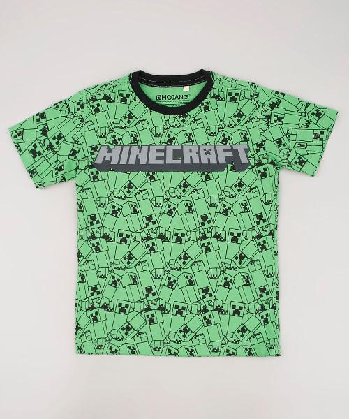 Camiseta infantil minecraft estampada manga curta verde
