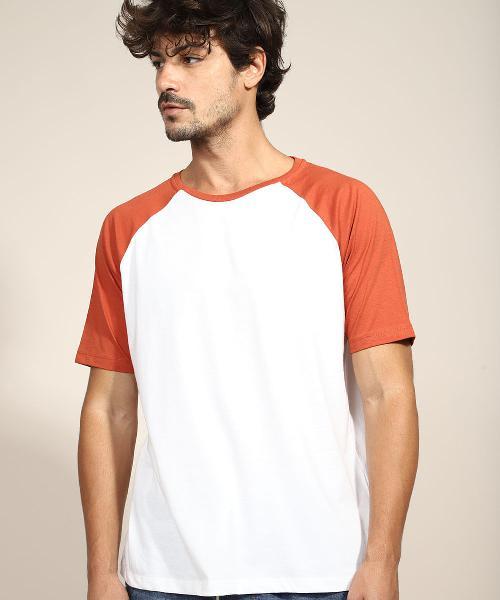Camiseta masculina básica raglan manga curta gola careca