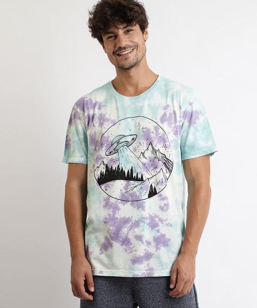 Camiseta masculina ovni estampada tie dye manga curta gola