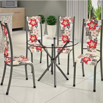 Conjunto de mesa redonda tampo de vidro 4 cadeiras dubai bm