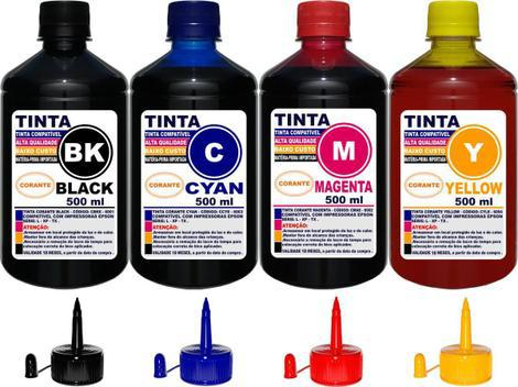 Kit 2 litros tinta (4 x 500 ml) compatível epson l120 l220