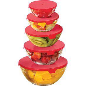 Conjunto 5 potes de vidro com tampa redondo casa do chef