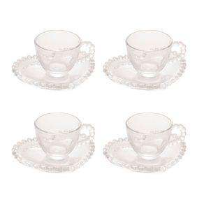 Jogo xícaras de café em cristal wolff pearl 85ml 4 peças
