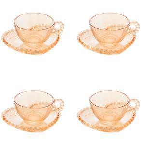 Jogo xícaras de chá em cristal wolff pearl 180ml 4 peças
