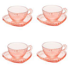 Jogo xícaras de chá em cristal wolff pearl coração 180ml