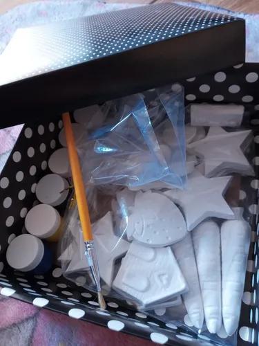 Kit gesso infantil 25 peças, 1 pilcel e 1 caixinha de tinta