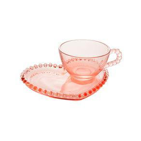 Xícara de chá com prato cristal wolff pearl coração