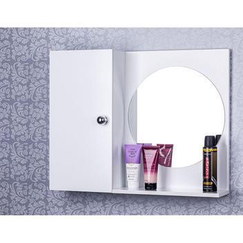 Armario para banheiro com espelho redondo cor branco -