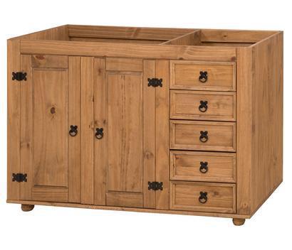Balcão de pia de madeira maciça rústico 2 portas e 5