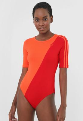 Body adidas originals color block laranja/vermelho
